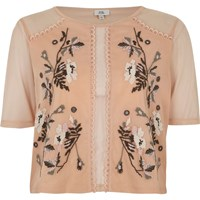 River Island Light Pink Mesh Floral Stitch Embroidered Top