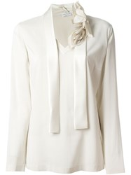 Brunello Cucinelli Floral Tie Collar V Neck Blouse Nude And Neutrals