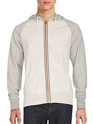 Weatherproof Vintage Colorblock Zipper Hoodie Oatmeal