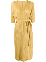 Issey Miyake Pleats Please By Pleated Wrap Cardigan Yellow