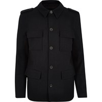 River Island Mens Navy Wool Blend Smart Military Coat