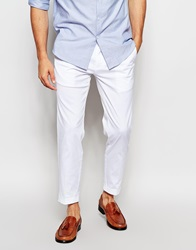 Dkny Cropped Trouser Slim Fit Turn Up White