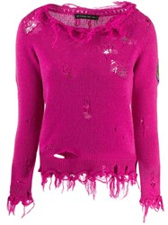 Etro Distressed Knitted Sweater Pink