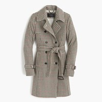 J.Crew Icon Trench Coat In Plaid Italian Wool Burgundy Tan Houndstooth