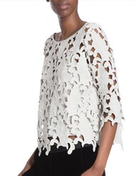Tracy Reese Three Quarter Sleeve Lace Shell Creme