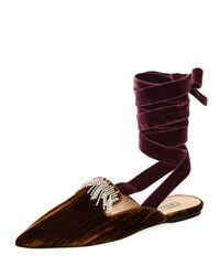 Attico Anne Crystal Embellished Velvet Ankle Wrap Mule Brown