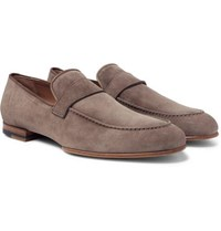 Brioni Foot Glove Nubuck Loafers Taupe