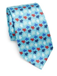 Vilebrequin Multicolor Turtle Print Silk Tie Blue Multi