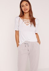 Missguided Lace Up Detail V Neck T Shirt White White