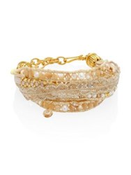 Chan Luu 3 4 White Freshwater Pearl And Natural Mix Multi Layer Bracelet Gold Mix