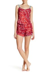 Josie V Neck Printed Romper Red