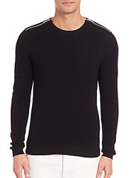 The Kooples Zip Cotton Pearl Stitch Sweater Black