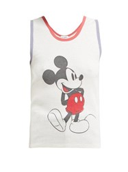 Saint Laurent Mickey Mouse Waffle Knit Cotton Tank Top Ivory Multi