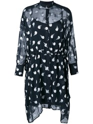 Rag And Bone Floral Shirt Dress Blue