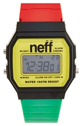 Neff 'Flava Xl' Digital Watch 38Mm X 27Mm Rasta