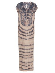 Raquel Allegra Jersey Tie Dye Slouchy Maxi Dress Blue Multi