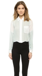 Madison Marcus Dee Button Down Top Baby Blue