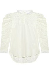 Sandro Maden Silk Paneled Embroidered Tulle Blouse Off White Off White