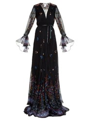 Etro Flower Print Embroidered Gown Black Multi