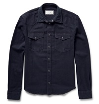 Maison Martin Margiela Western Slim Fit Stretch Denim Shirt Blue