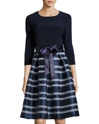 Chetta B Organza Skirt 3 4 Sleeve Dress Navy