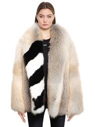 Off White Fox Fur Coat With Stripes