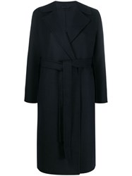 Closed Tie Waist Midi Coat Blue