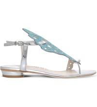 Sophia Webster Seraphina Glitter And Metallic Leather Sandals Silver Com