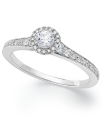 Macy's 14K White Gold Certified Diamond Halo Engagement Ring 1 2 Ct. T.W.