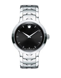 Movado Luno Stainless Steel Bracelet Watch Silver Black