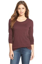 Caslonr Women's Caslon Long Sleeve Slub Knit Tee Burgundy Stem