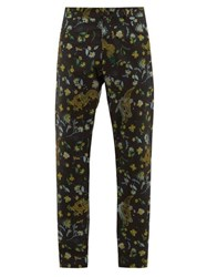 Martine Rose Dragon And Floral Satin Jacquard Trousers Black Multi