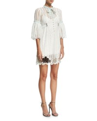 Marc Jacobs 3 4 Sleeve Striped Lace Babydoll Cocktail Dress White