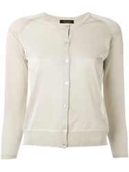 Roberto Collina Fitted Round Neck Cardigan Women Polyester Viscose L Nude Neutrals
