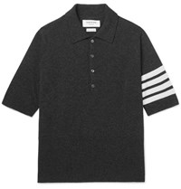 Thom Browne Slim Fit Striped Cashmere Polo Shirt Gray