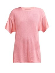 The Elder Statesman Cashmere And Silk Blend T Shirt Pink