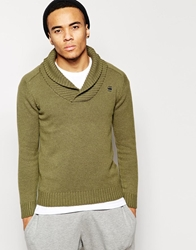 G Star Shawl Collar Jumper Sharshaw Oxford Knit Sage