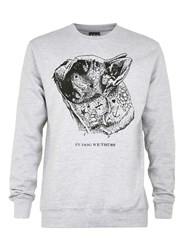 Topman Art Disco Grey In Dog We Trust Print Sweatshirt