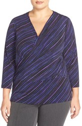 Plus Size Women's Ellen Tracy Faux Wrap Top Violet Multi