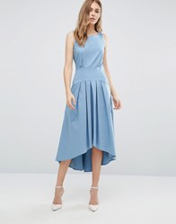 Closet London Hip Panel High Low Dress Pale Blue