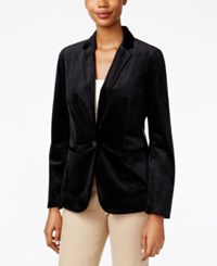 Charter Club Petite Velvet One Button Blazer Only At Macy's Deep Black