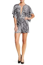 Norma Kamali Split Neck Animal Print Romper Brown