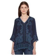 Johnny Was Embroidered Blouse Deep Dawn Women's Blouse Blue