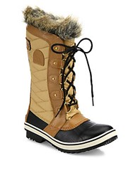 Sorel Tofino Ii Coated Canvas And Faux Fur Winter Boots Fawn