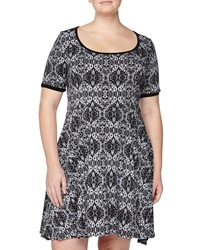 Melissa Masse Lace Print Fit And Flare Dress White Black