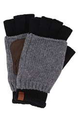 Men's Ben Sherman Knit Wool Blend Fingerless Gloves Black Jet Black