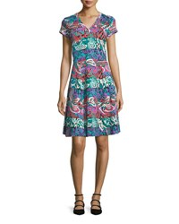 Etro Printed Jersey Cap Sleeve Dress Green Multi