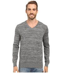 Perry Ellis Stripe V Neck Sweater Heather Grey Men's Sweater Gray