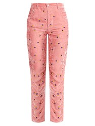 Jupe By Jackie Floral Embroidered Slim Leg Silk Velvet Trousers Pink