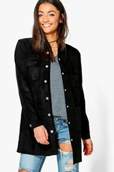 Boohoo Tall Salena Suedette Utility Jacket Black